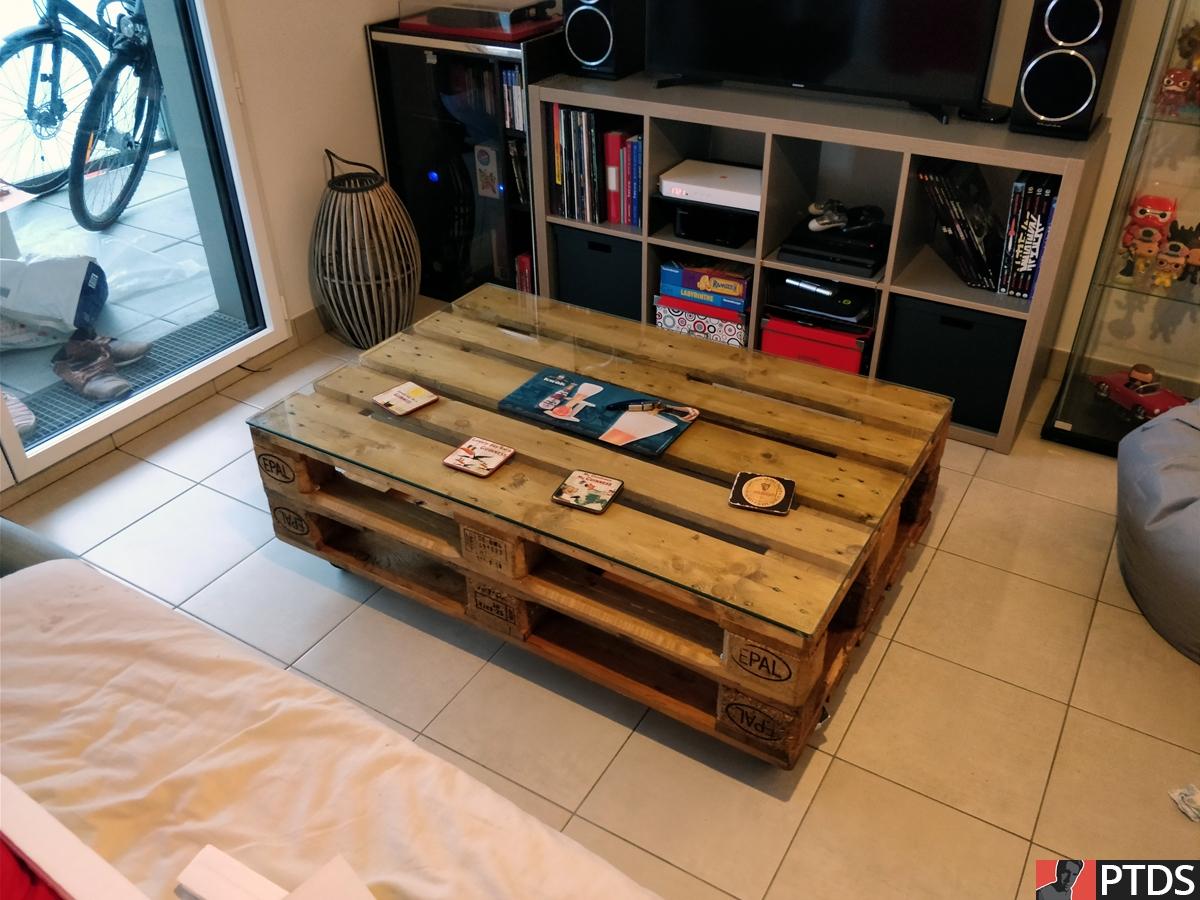 Table Basse Palettes - Plaque Verre