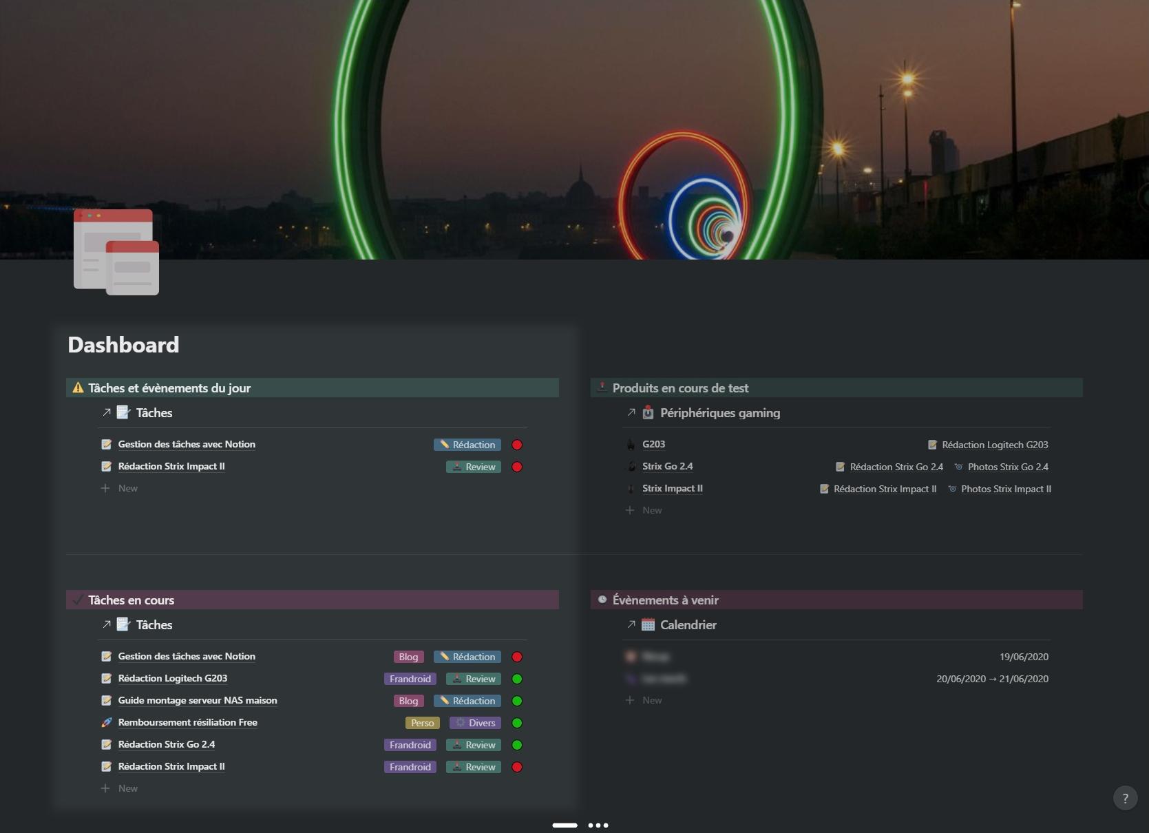 Notion : gestion des tâches, dashboard.